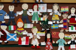 3rd grade culture dolls on display at Multicultural Night